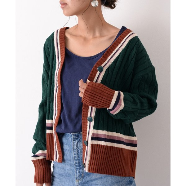 カーディガン レディース 羽織り 秋冬 セーター ケーブル編み 長袖 上着 アウター マルチカラー 配色 可愛い 暖か ruckruck 05