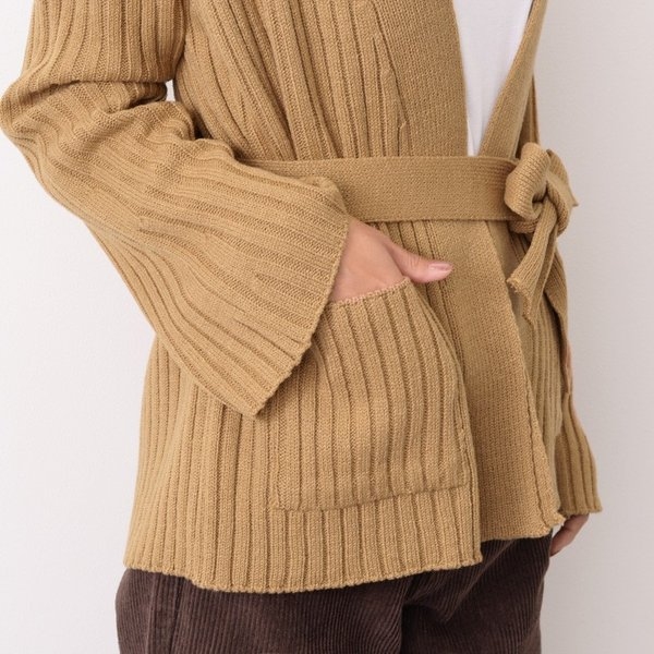 ベルト付きワイドスリーブリブニットカーディガン レディース アウター 羽織り 2001m|ruckruck|06