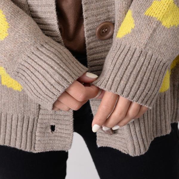 レオパード柄ワイドニットカーディガン レディース トップス セーター ゆったり 大きめ ショート丈 長袖|ruckruck|06