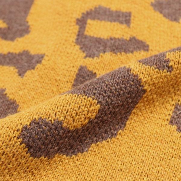 レオパード柄ワイドニットカーディガン レディース トップス セーター ゆったり 大きめ ショート丈 長袖|ruckruck|09