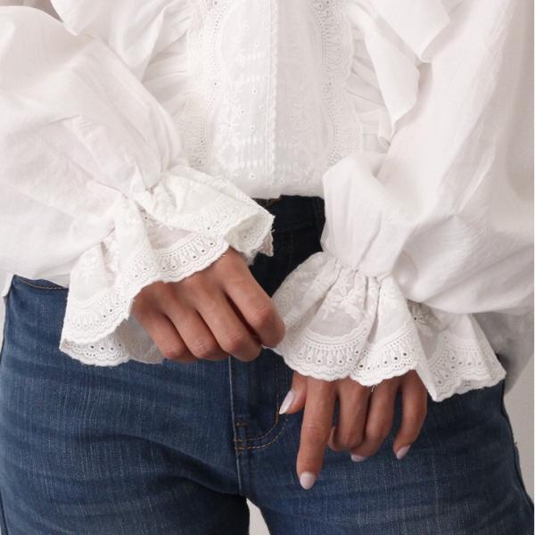 ブラウス レディース コットン ラッフル レース フリル 可愛い 綿100% トップス シャツ Vネック 大きめ 長袖 春夏|ruckruck|07