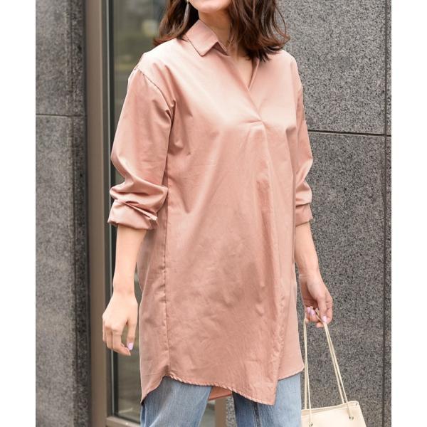 シャツ レディース 長袖 ロング丈 コットン 綿100% ワイド スキッパー ゆったり 大きいサイズ レイヤード 無地 カジュアル|ruckruck|10