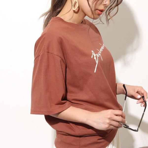 Tシャツ レディース カットソー 春 夏 半袖 ゆったり 大きめ 綿100% ロング ロゴ プリント カジュアル ビッグ 英字 手書き風 2006ss|ruckruck|12