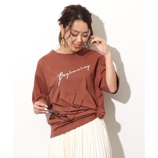 Tシャツ レディース カットソー 春 夏 半袖 ゆったり 大きめ 綿100% ロング ロゴ プリント カジュアル ビッグ 英字 手書き風 2006ss|ruckruck|13