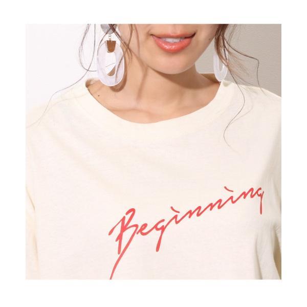 Tシャツ レディース カットソー 春 夏 半袖 ゆったり 大きめ 綿100% ロング ロゴ プリント カジュアル ビッグ 英字 手書き風 2006ss|ruckruck|09
