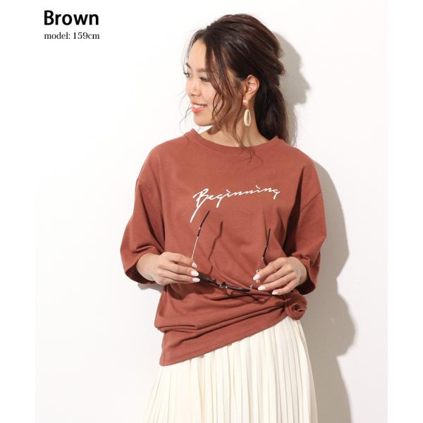 Tシャツ レディース カットソー 春 夏 半袖 ゆったり 大きめ 綿100% ロング ロゴ プリント カジュアル ビッグ 英字 手書き風 2006ss|ruckruck|10