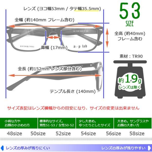 メガネ 度付き AL1125-53  a/p lab TR90(グリルアミド)  眼鏡フレーム (近視・遠視・乱視・老視に対応)|rule|10