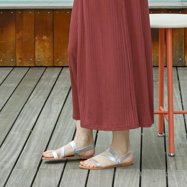 フラットサンダル レディース 超軽量 レザーストラップ 靴 ブラック キャメル ホワイト シルバー 22.5cm 23.0cm 23.5cm 24.0cm 24.5cm|rumsee|02