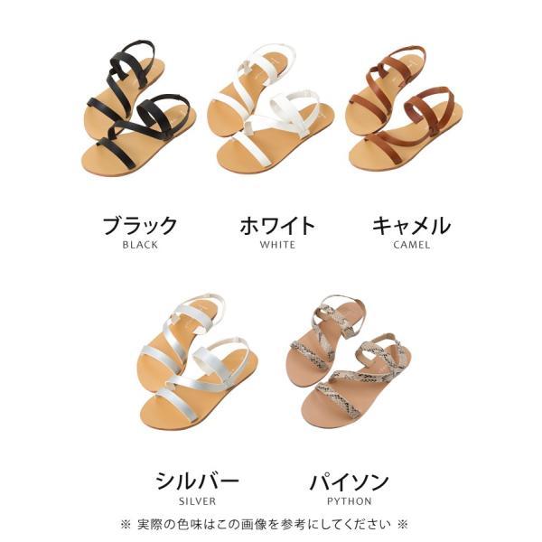 フラットサンダル レディース 超軽量 レザーストラップ 靴 ブラック キャメル ホワイト シルバー 22.5cm 23.0cm 23.5cm 24.0cm 24.5cm|rumsee|04