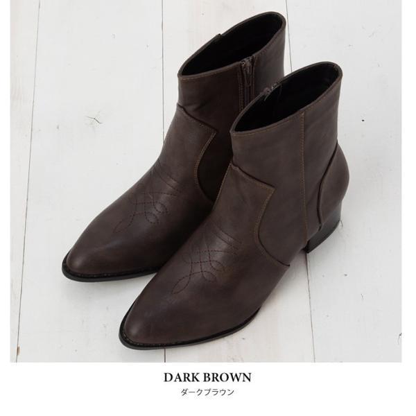 ウエスタンブーツ レディース ヴィンテージライク 靴 ショートブーツ ブラック ココア キャメル ダークブラウン|rumsee|11