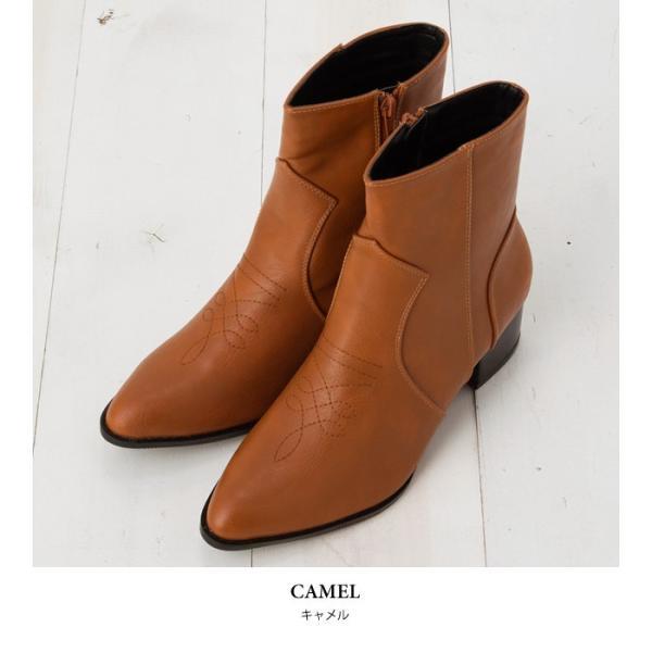 ウエスタンブーツ レディース ヴィンテージライク 靴 ショートブーツ ブラック ココア キャメル ダークブラウン|rumsee|09