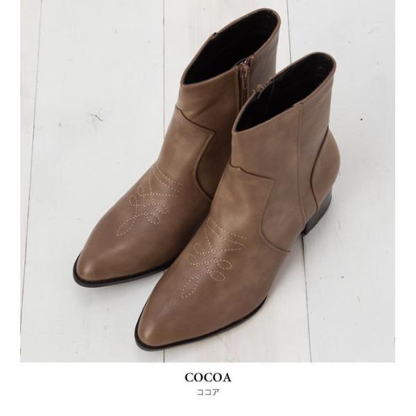ウエスタンブーツ レディース ヴィンテージライク 靴 ショートブーツ ブラック ココア キャメル ダークブラウン|rumsee|10