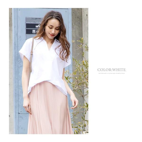 スキッパーシャツ レディース 裾ブラウジング ブラウス 半袖 春夏|rumsee|15