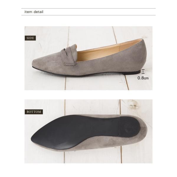 ローファー パンプス  フラットシューズ 靴 ポインテッド エナメル スエード 大きいサイズ 秋冬|rumsee|10