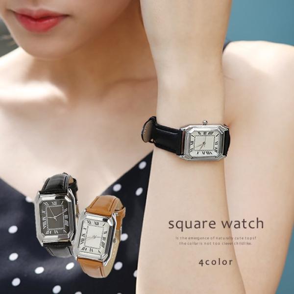 腕時計 レディース メンズ スクエアフェイスレザータッチ デザインウォッチ ブラック ホワイト キャメル rumsee