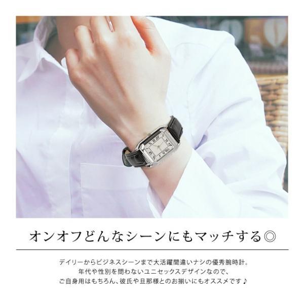 腕時計 レディース メンズ スクエアフェイスレザータッチ デザインウォッチ ブラック ホワイト キャメル rumsee 03