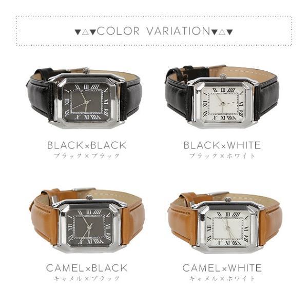 腕時計 レディース メンズ スクエアフェイスレザータッチ デザインウォッチ ブラック ホワイト キャメル rumsee 05
