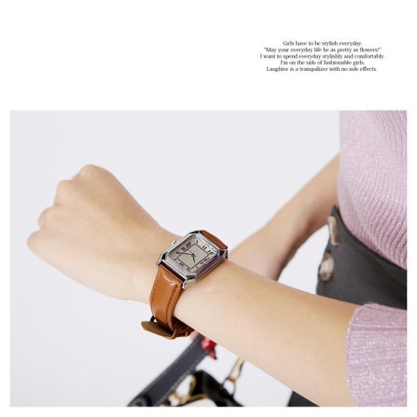 腕時計 レディース メンズ スクエアフェイスレザータッチ デザインウォッチ ブラック ホワイト キャメル rumsee 07