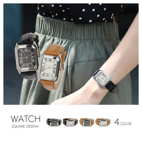腕時計 レディース メンズ スクエアフェイスレザータッチ デザインウォッチ ブラック ホワイト キャメル rumsee 08
