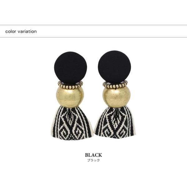 ピアス レディース ヴィンテージ風 リボン 大ぶり 刺繍 存在感 小顔効果 韓国アクセ カジュアル ブラック マルチ ブルー|rumsee|02