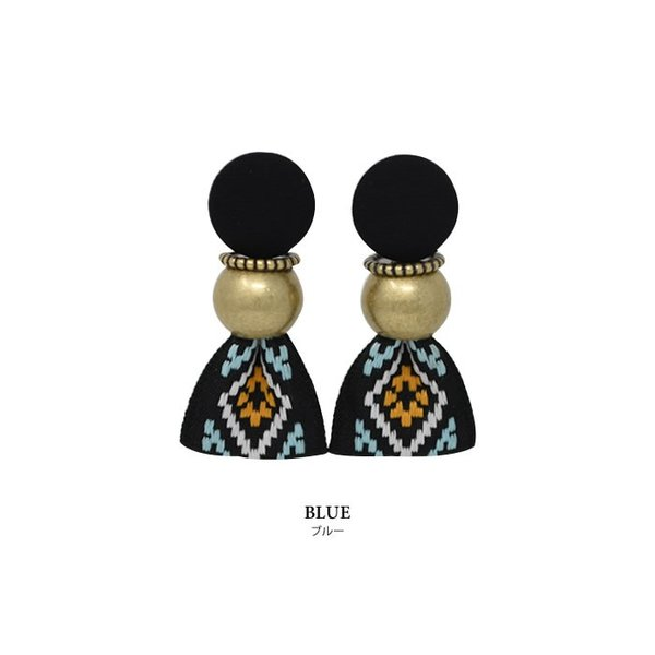 ピアス レディース ヴィンテージ風 リボン 大ぶり 刺繍 存在感 小顔効果 韓国アクセ カジュアル ブラック マルチ ブルー|rumsee|04