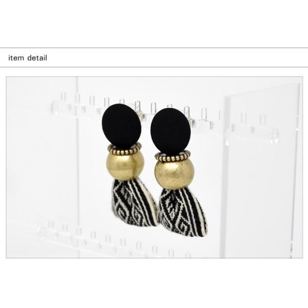 ピアス レディース ヴィンテージ風 リボン 大ぶり 刺繍 存在感 小顔効果 韓国アクセ カジュアル ブラック マルチ ブルー|rumsee|05