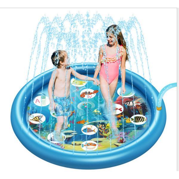 子ども用 プール噴水マット プレイマット 水遊び 家庭用プール 子供 直径170CM 噴水池 水遊び ウォーター アウトドア 夏の日 芝生遊び 庭 家庭用 親子芝生遊び