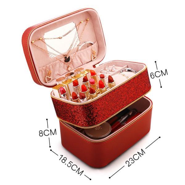 ジュエリーケース大容量コスメボックス 化粧品入れ 道具ジュエリーボックスアクセサリーケースネックレスピアス小物入れ収納BOXメイクボック|rurubunndo|04