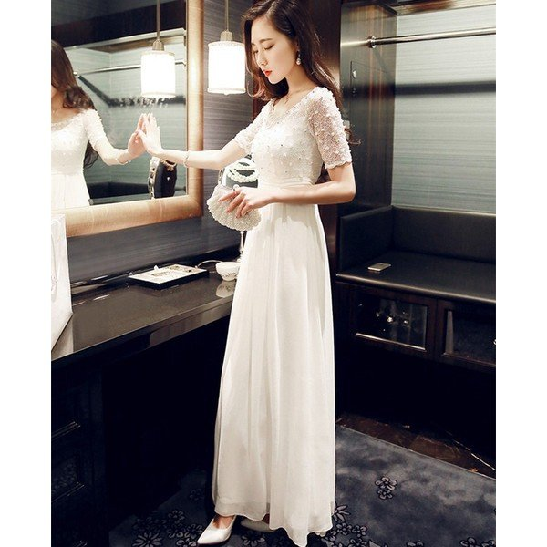 54d7644756d3f ... パーティードレス ワンピース 白 結婚式 ドレス 袖あり ウエディングドレス シフォンワンピース レディース 夏 ビーチ