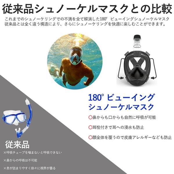 シュノーケル マスク フルフェイス 耳抜き可能 潜水 180° フルフェイスマスク|rush-mall|02