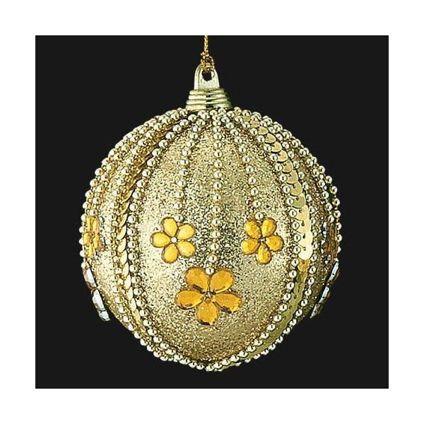 クリスマス装飾 8cmフローラルゴールドアンティークボール ツリー[ONSTOBA6190]