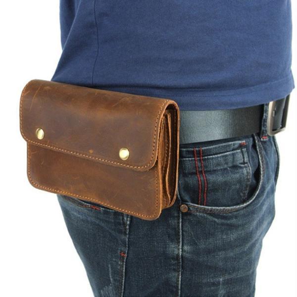 ウエストポーチ本革レザーベルトポーチメンズレザーベルトバッグタバコケースビンテージ携帯財布収納カジュアルバッグ