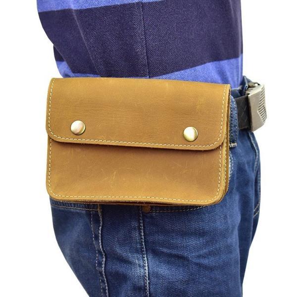 ウエストバッグレトロ耐久メンズ本革ウエストポーチベルトバッグ財布携帯財布収納タバコケースHuaweiポーチフラップ