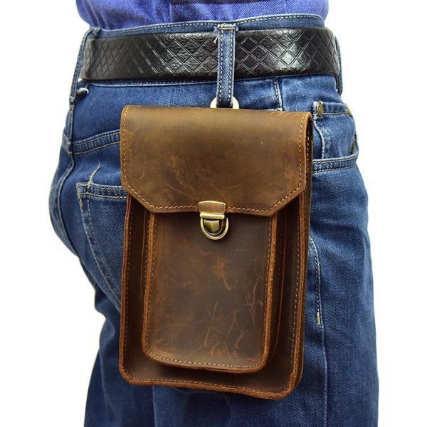 ウエストバッグメンズ本革ウエストポーチブラウンベルトバッグ携帯財布収納財布タバコケース大容量HuaweiiPhone収納