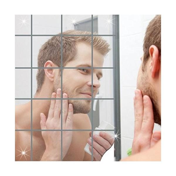 25枚セット壁貼りシール 鏡シール インテリア鏡貼 浴室 化粧 壁 装飾ミラー 安全 割れない 折れない 鏡効果 おしゃれ 薄型 空間節約|rysss|02