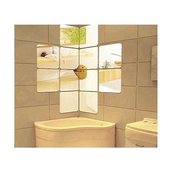 25枚セット壁貼りシール 鏡シール インテリア鏡貼 浴室 化粧 壁 装飾ミラー 安全 割れない 折れない 鏡効果 おしゃれ 薄型 空間節約|rysss|03