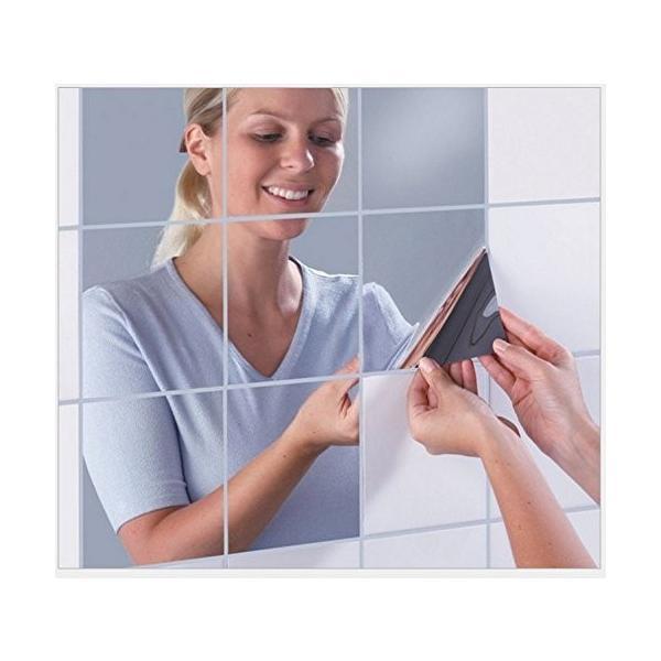 25枚セット壁貼りシール 鏡シール インテリア鏡貼 浴室 化粧 壁 装飾ミラー 安全 割れない 折れない 鏡効果 おしゃれ 薄型 空間節約|rysss|04