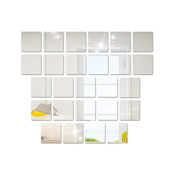 25枚セット壁貼りシール 鏡シール インテリア鏡貼 浴室 化粧 壁 装飾ミラー 安全 割れない 折れない 鏡効果 おしゃれ 薄型 空間節約|rysss|06