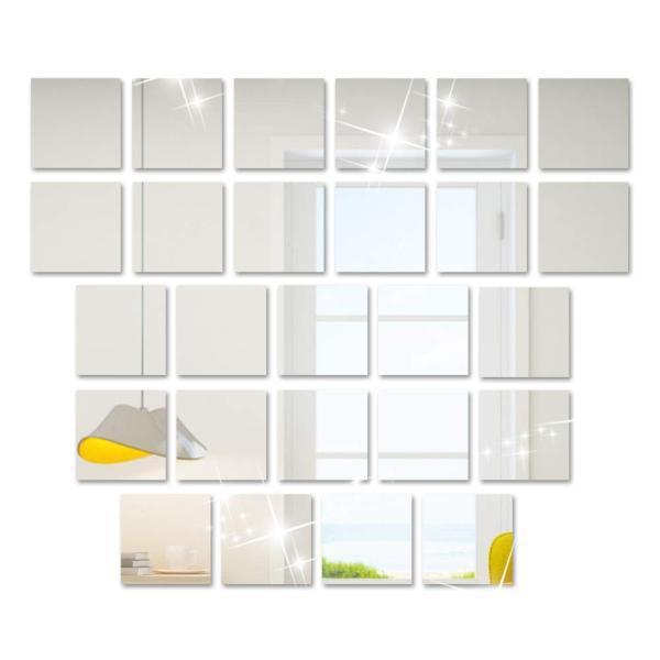25枚セット壁貼りシール 鏡シール インテリア鏡貼 浴室 化粧 壁 装飾ミラー 安全 割れない 折れない 鏡効果 おしゃれ 薄型 空間節約|rysss|09