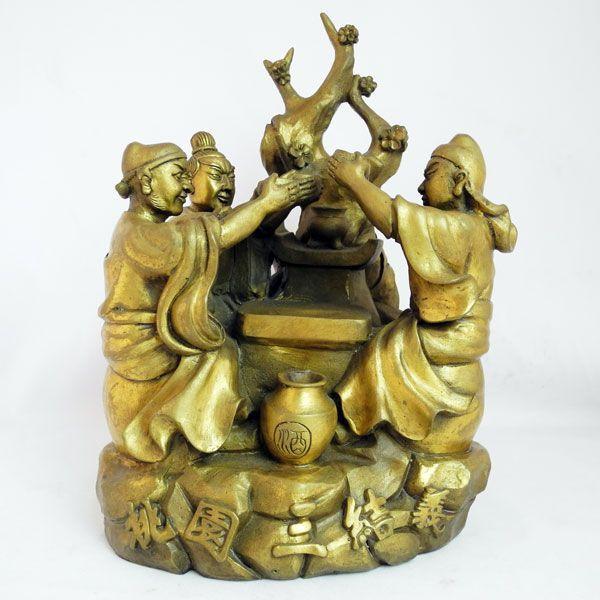 劉備 関羽 張飛 桃園の誓い 桃園三結義 銅製置物|ryu