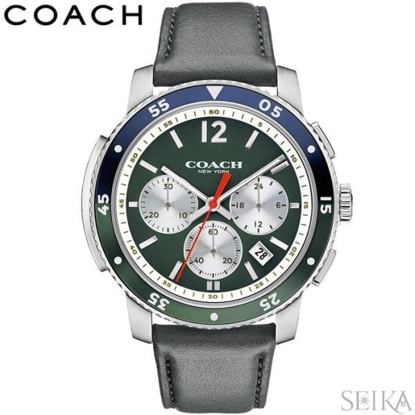 db9900ae6bde コーチ COACH 14602026時計 腕時計 メンズ ブラック レザー 緑の腕時計 父の日の画像