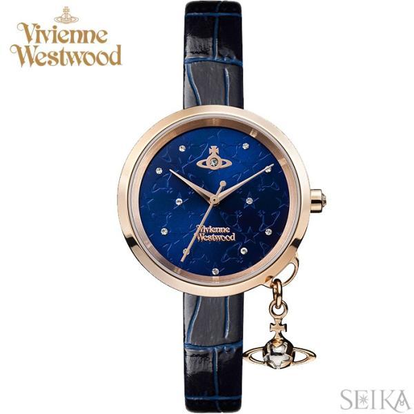 (ショップ袋プレゼント)ヴィヴィアンウエストウッド Vivienne Westwood VV139NVNV時計 腕時計 レディース ネイビー レザー