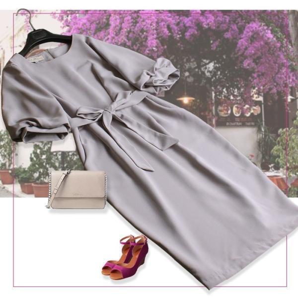 パーティードレス ワンピース 結婚式 フォーマル 二次会 袖あり お呼ばれ 20代 30代 40代 ドレス バルーンスリーブ|ryze|05