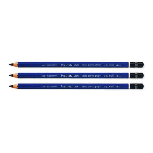 【ステッドラー】STAEDTLER 鉛筆 マルス ルモグラフアクェレル 水彩鉛筆 4B/6B/8B 【1本】 デッサン 【メール便OK】