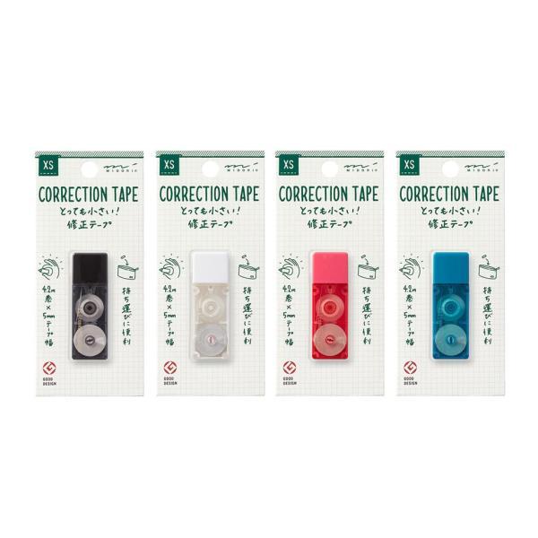 【ミドリ】XS  とっても小さい 修正テープ 黒 白 ピンク 青 3526/デザインフィル ミニ 修正 コンパクト【メール便OK】