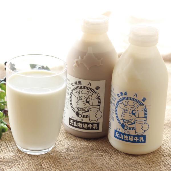 元山牧場 牛乳・コーヒー牛乳 500ml×4 各2本セット 北海道 八雲町 元山牧場エルフィン 産地直送 送料無料