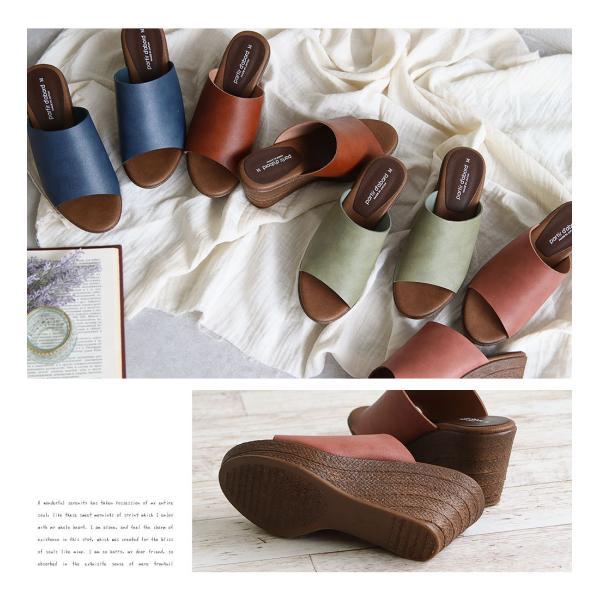 日本製 partir d`abord 美脚 ミュール サンダル レディース 歩きやすい 旅行 ウェッジソール サンダル レディース ヒール高い 厚底 サボサンダル 109-92970|s-martceleble|03