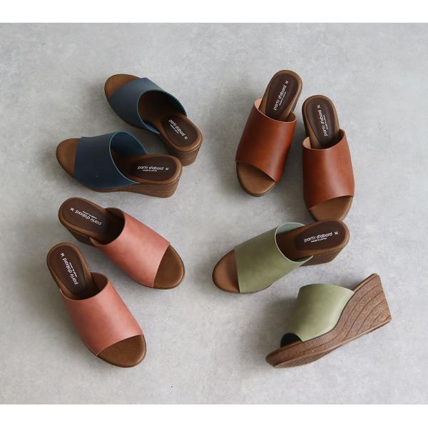 日本製 partir d`abord 美脚 ミュール サンダル レディース 歩きやすい 旅行 ウェッジソール サンダル レディース ヒール高い 厚底 サボサンダル 109-92970|s-martceleble|06