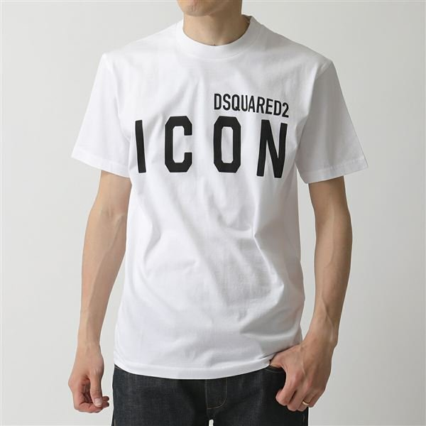 DSQUARED2 ディースクエアード S79GC0001 S23009  コットン 半袖Tシャツ カットソー 100/ホワイト ICON アイコン×ロゴT  メンズ