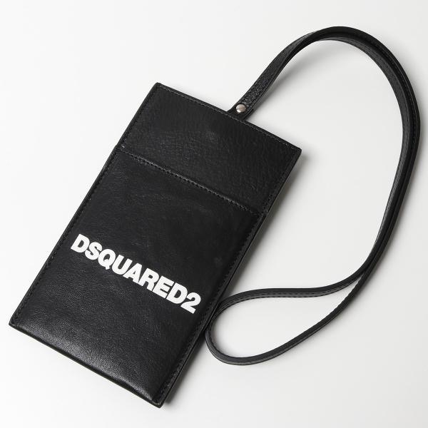 DSQUARED2 ディースクエアード POM0012 12903257 iPhoneケース 携帯ケース ネックポーチ レザー フラット 鞄 M063/NERO+BIANCO メンズ